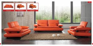 Sofa Set in Orange Leather with Wenge Wood Finished Accent