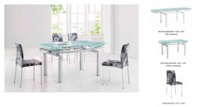 Ultra Modern Glass & Tube Extendible Dining Room Set