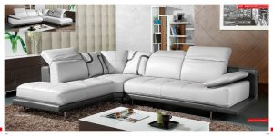 White & Grey Top Grain Full Leather Modern Sectional Sofa