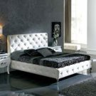 Modern Leather Nelly Platform Queen Bed White