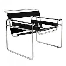 Black Leather Strap Modern Contemporary Wassily Steel Chair