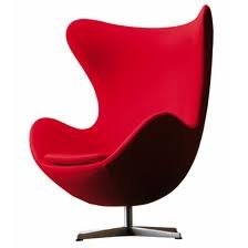 Modern Red Egg Chair With Tilting Swivel Base