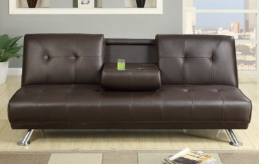 Adjustable Leather Futon Sleeper Sofa Brown w/ Fold Down Middle