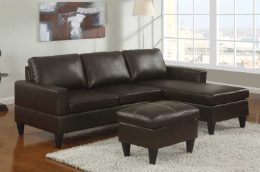 Leather Sectional Sofa Fusion Style Brown