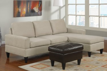 Microfiber Sectional Sofa Fusion Style Beige