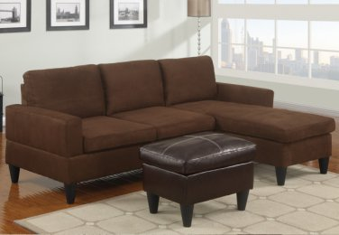 Microfiber Sectional Sofa Fusion Style Brown