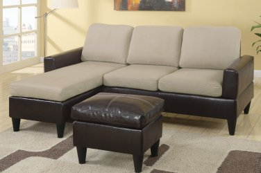 Sectional Sofa Combination Leather & Microfiber Fusion Style Beige