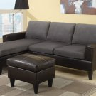 Sectional Sofa Combination Leather & Microfiber Fusion Style Grey