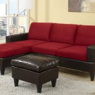Sectional Sofa Combination Leather & Microfiber Fusion Style Red