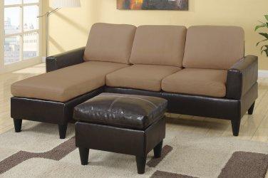 Sectional Sofa Combination Leather & Microfiber Fusion Style Saddle