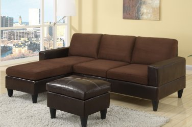 Sectional Sofa Combination Leather & Microfiber Fusion Style Brown