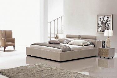 Modern Leather Logan Style Platform Queen Bed Beige