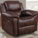 Rocker Recliner Leather Frontier Style Brown