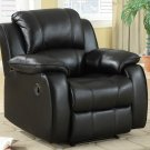 Rocker Recliner Leather Frontier Style Black