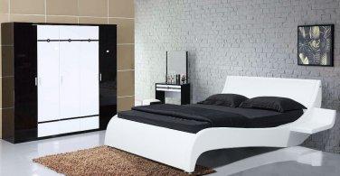 Modern Leather Platform Gaga King Bed w/ Side Tables