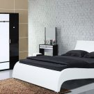 Modern Leather Platform Gaga Queen Bed w/ Side Tables White