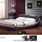 Barcelona Leather Platform Queen Bed Brown