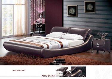 Barcelona Leather Platform Queen Bed Brown