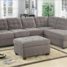 Vista 2-Piece Sectional Suede Sofa Charcoal