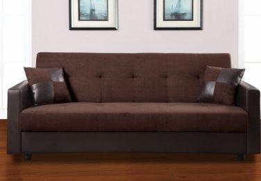Microfiber & Leather Sleeper Sofa Futon