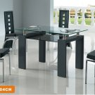Modern Metal & Glass Zoom Dining Set 5-Piece Black