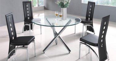 Modern Metal & Glass Distress Dining Set 5-Piece Black