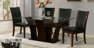 Modern Wood & Glass Daisy Dining Set 5-Piece Brown