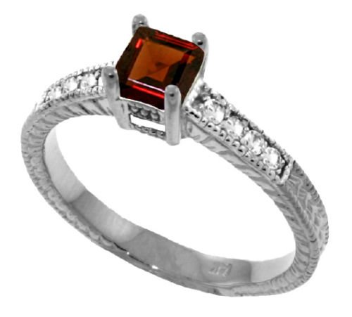 princess cut real garnet ring 14k white gold