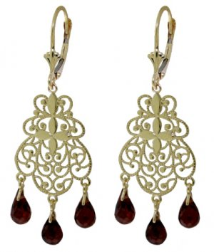 14K YELLOW GOLD CHANDELIER EARRINGS WITH GARNET DANGLES