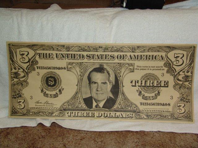 nixon poster three dollar bill rare
