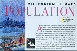National Geographic Map October 1998~Millennium In Maps-Population