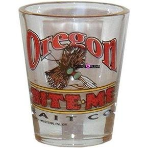 Oregon Fishing Bait Bite Me Shot Glass Schnapps Glasses