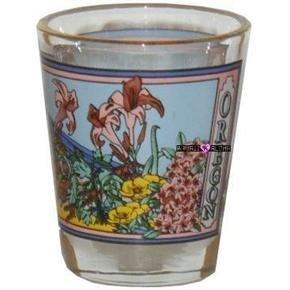 Oregon Flowers Shot Glass Schnapps Glasses USA Blumen