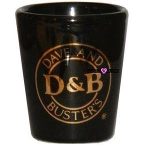 D & B Dave and Buster Black Gold Shot Glass Schnapps Glasses