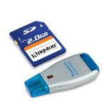 KINGSTON 2GB (SD)SECURE DIGITAL MEMORY CARD WITH TRAVEL LITE READER