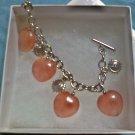 Silvertone Rose Quartz Heart Bracelet
