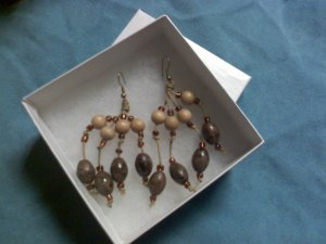 Beaded Wood Drop Earrings