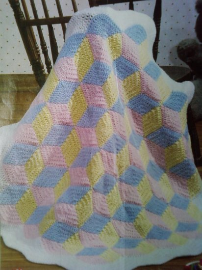 Tumbling Blocks Crochet Afghan Pattern Free : L@@K!*TUMBLING BABY BLOCKS AFGHAN*- NEW CROCHET PATTERN