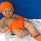 "L@@K! DAINTY 3PC- ""PUMPKIN HAT,DIAPER COVER, BOOTIES SET""-COSTUME & PHOTO PROP"