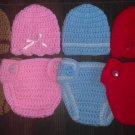 "L@@K! DARLING ""2 PC-CROCHET HAT & DIAPER COVER BABY SETS""- GIFTS/PHOTO/EVERYDAY"
