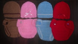 """L@@K! DARLING """"2 PC-CROCHET HAT & DIAPER COVER BABY SETS""""- GIFTS/PHOTO/EVERYDAY"""