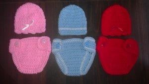 "L@@K! LOVELY ""2 PC- CROCHET HAT & DIAPER COVER SETS"" FOR NEWBORN & REBORN BABIES"