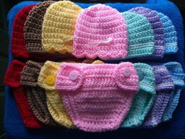 """L@@K! PRECIOUS """"2 PC-CROCHET HAT & DIAPER COVER BABY SETS""""-PHOTO PROPS/GIFTS/ETC"""