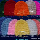 "L@@K! DAINTY ""PREEMIE & REBORN BABY SCALLOP EDGED HATS W/BOWS""-BUY 2 GET 1 FREE!"