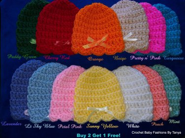 "L@@K! PRETTY ""REBORN BABY (0-3 MO) SCALLOP EDGED HATS W/BOWS""-BUY 2 GET 1 FREE!"