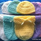 "L@@K! ADORABLE ""HAT & COCOON/PAPOOSE BABY SETS"" - SIZES: PREEMIE, NEWBORN"