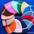 L@@K! CHARMING BABY HATS W/STRIPE - HAND CROCHET- SIZES: PREEMIE, 0-3 MOS,3-6MOS