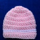 LOOK!  PRECIOUS PINK BABY HAT WITH WHITE STRIPE - SIZES: PREEMIE, 0-3 MO, 3-6MOS