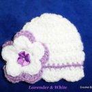 "L@@K! LOVELY ""REBORN BABY HAT W/ STRIPE & FLOWER ""- SZ: PREEMIE - WHITE/LAVENDER"