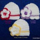 """L@@K! SWEET """"3PC HAND CROCHET BABY HATS W/ FLOWER - PREEMIE, 0-3, 3-6 MOS"""